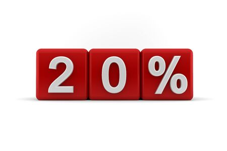 proportionate: Big red 3D blocks with white 20 percent text