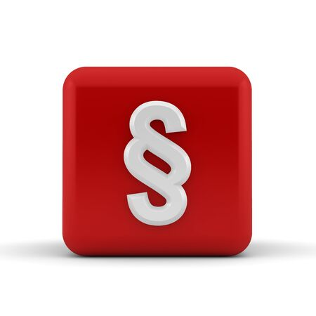 sectional: White embossed and bevelled paragraph symbol on a 3d render red cube