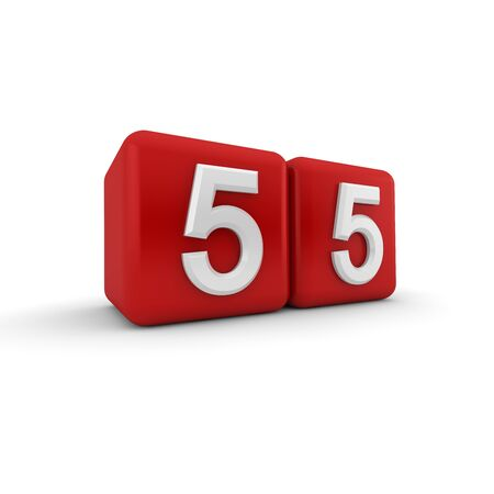 three angled: Two red cubes standing together at an oblique angle each one bearing a white embossed number five reading fifty-five across the two cubes  Stock Photo