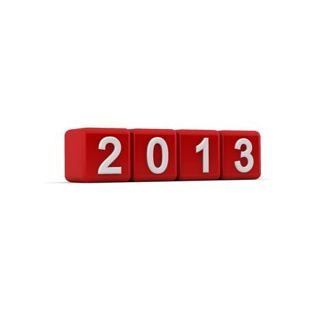 2013 in white embossed numbers on bevelled red cubes set at a slight angle on a white background  photo