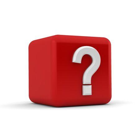 preguntando: Bloque rojo 3d con un signo de interrogaci�n blanco Foto de archivo