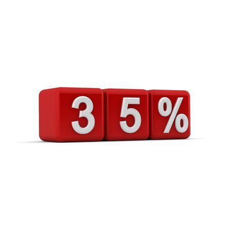 thirty five: 3D red blocks with white thirty five percent text