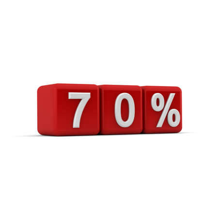 seventy: 3D red blocks with white seventy percent text