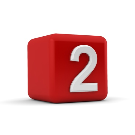 numbering: A red 3D block with white number two Stock Photo