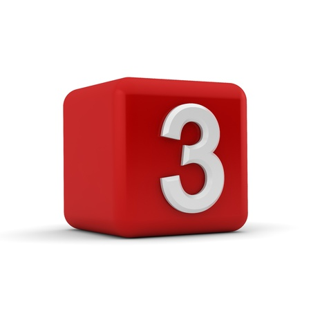 A red 3D block with white number three photo