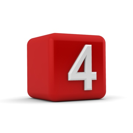 arabic number: A red 3D block with white number four