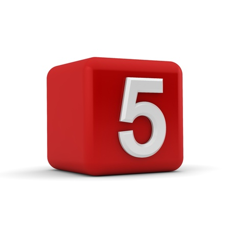 numeracy: A red 3D block with white number five