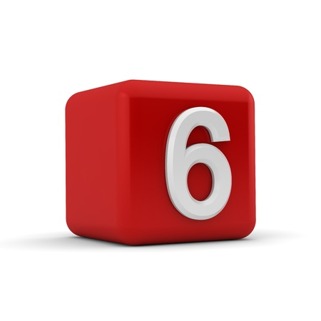 arabic numeral: A red 3D block with white number six