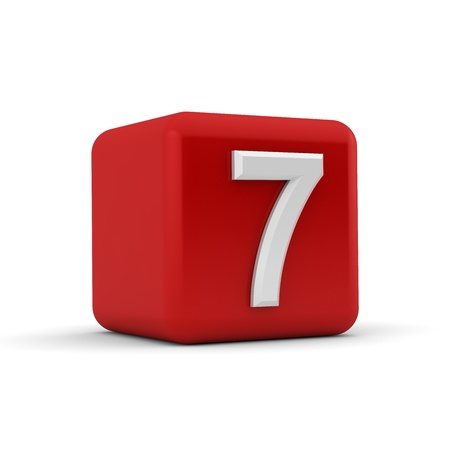 seven: A red 3D block with white number seven Stock Photo