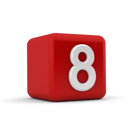A red 3D block with white number eight photo