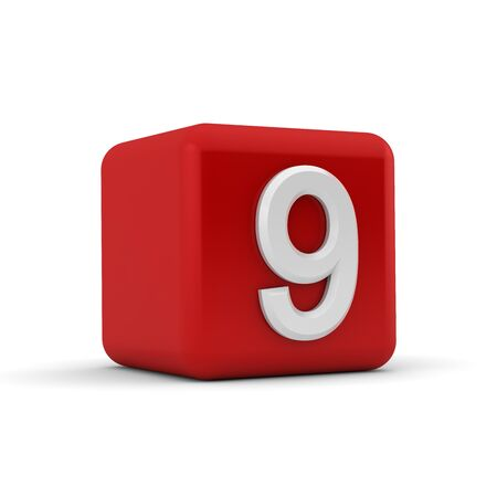 A red 3D block with white number nine Stock Photo - 13499865