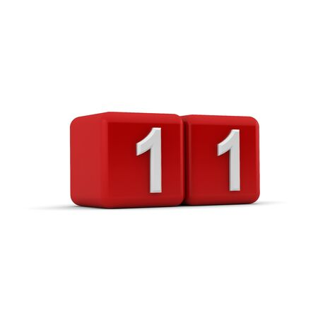 number eleven: A red 3D block with white number eleven Stock Photo
