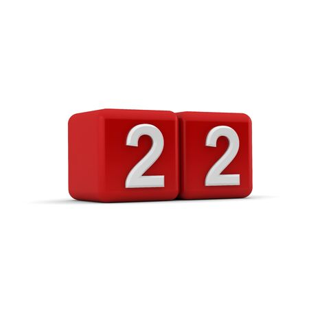 A red 3D block with white number twenty two Stock Photo - 13499750