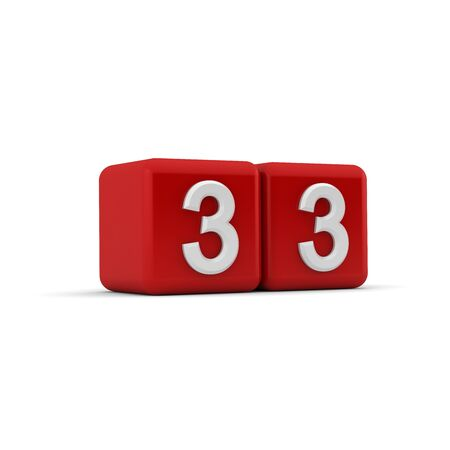 three angled: A red 3D block with white number thirty three Stock Photo