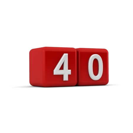 naught: A red 3D block with white number fourty