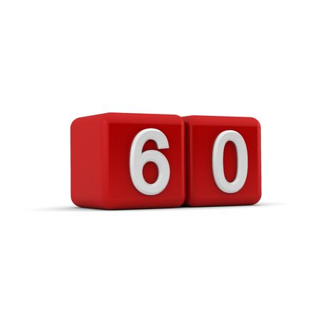 naught: A red 3D block with white number sixty Stock Photo