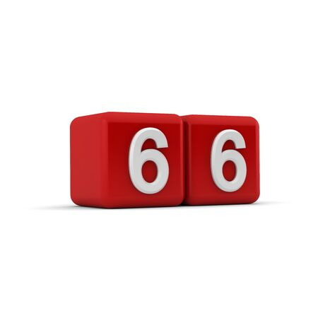 sixty six: A red 3D block with white number sixty six