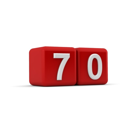 naught: A red 3D block with white number seventy