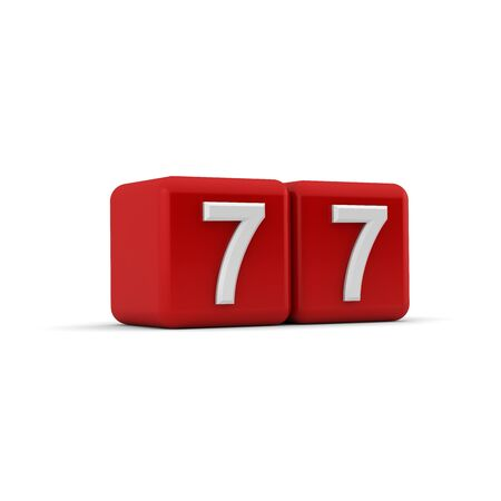 seventy: A red 3D block with white number seventy seven