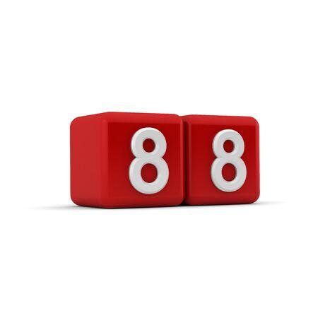 achtzig: Ein rotes 3D-Block mit wei�en Nummer 88