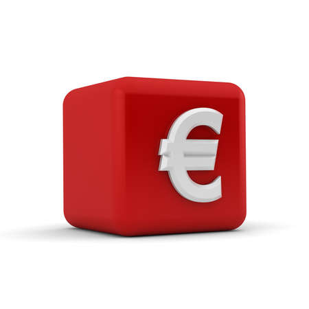A red 3D block with the white euro currency symbol photo