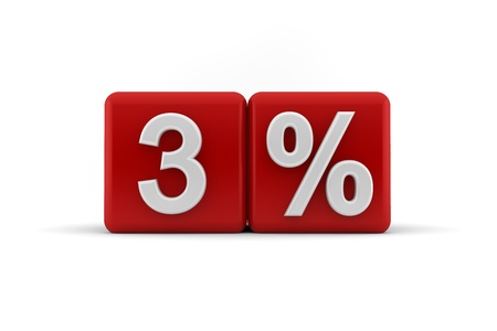 numeracy: Big red 3D blocks with white 3 percent text Stock Photo