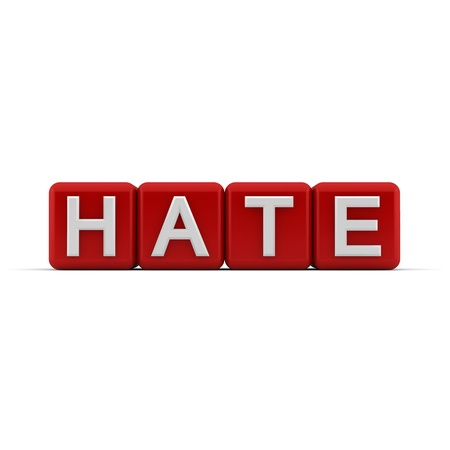 abhorrence: 3D red blocks with white word hate Stock Photo