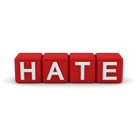 antagonistic: 3D red blocks with white word hate Stock Photo
