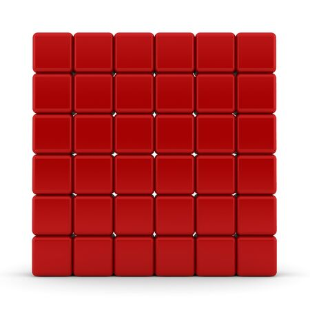 red building blocks: Red 3D rounded cubes isolated on white - abstract background
