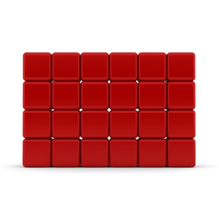 Red 3D rounded cubes isolated on white - abstract background photo