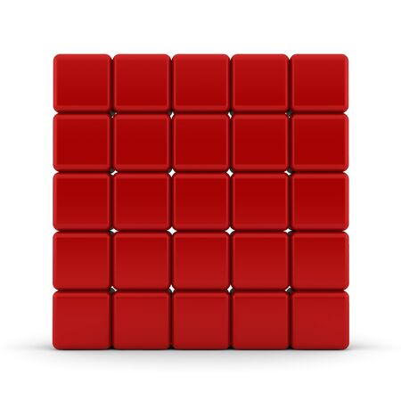 Red 3D rounded cubes isolated on white - abstract background Stock Photo - 13499909
