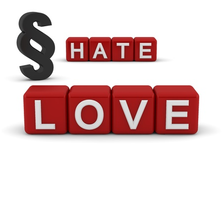 3D red blocks with the text love and hate with the section sign photo