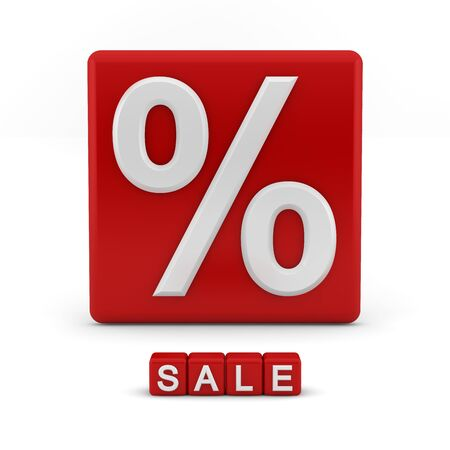 Shiny red 3D block with the percentage symbol and the word sale photo