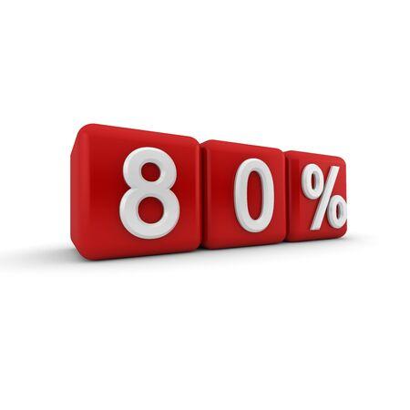 quantitative: Big red 3D blocks with white 80 percent text Stock Photo