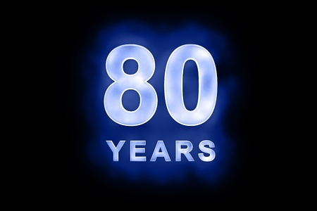 80 years text with blue glow on black background Stock Photo - 13499372