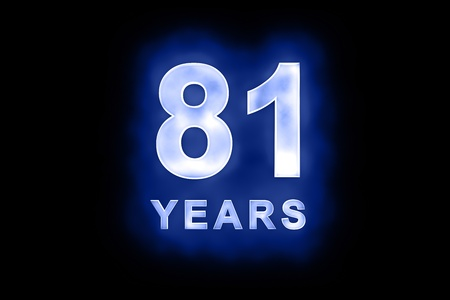 81 years text with blue glow on black background Stock Photo - 13499358
