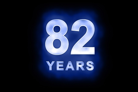 82 years text with blue glow on black background photo