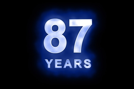 87 years text with blue glow on black background Stock Photo - 13499360