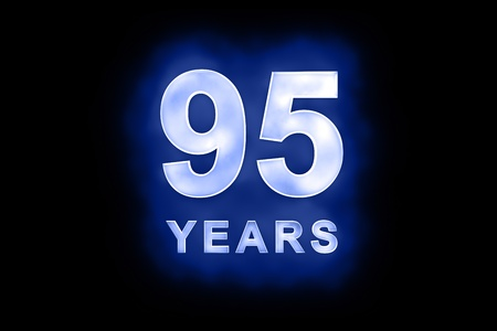 95 years text with blue glow on black background Stock Photo - 13499369