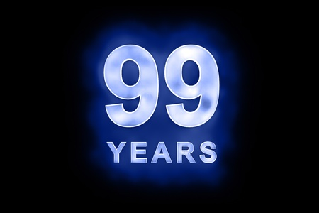 99: 99 years text with blue glow on black background