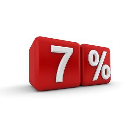quantitative: 3D red blocks with white seven percent text Stock Photo
