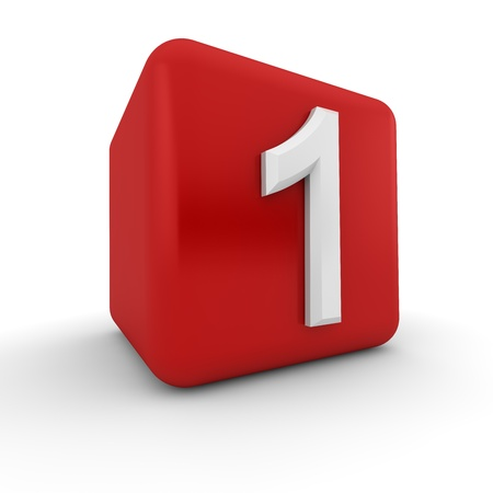 arabic number: A red 3D block with white number one