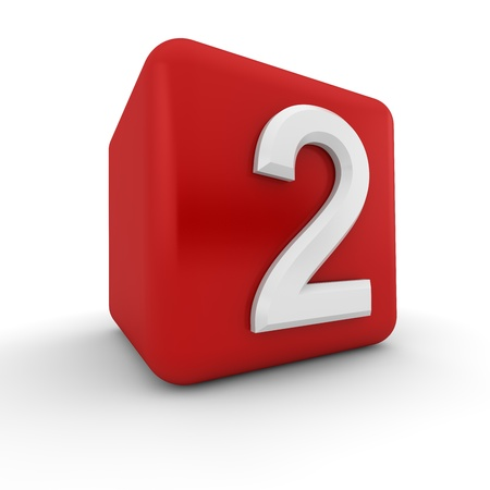 numeracy: A red 3D block with white number two Stock Photo