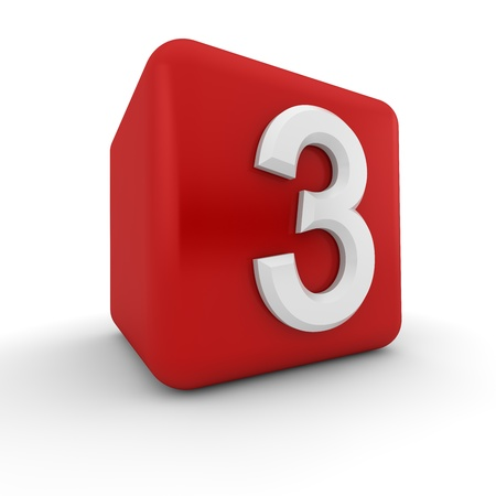number three: A red 3D block with white number three