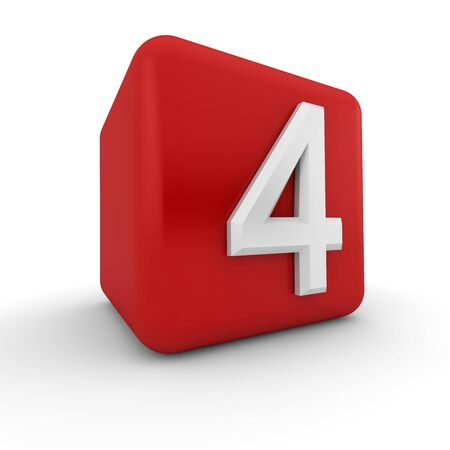 arabic numeral: A red 3D block with white number four
