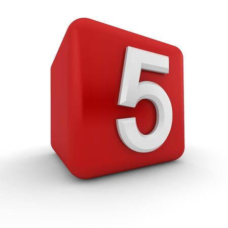 A red 3D block with white number five photo