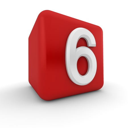 numeracy: A red 3D block with white number six
