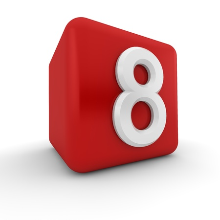 A red 3D block with white number eight Stock Photo