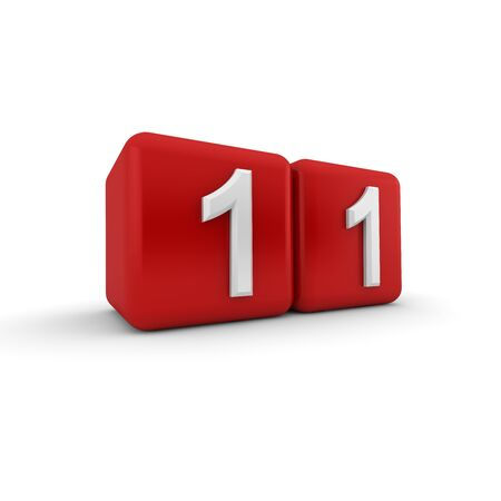 A red 3D block with white number eleven Stock Photo - 13499449