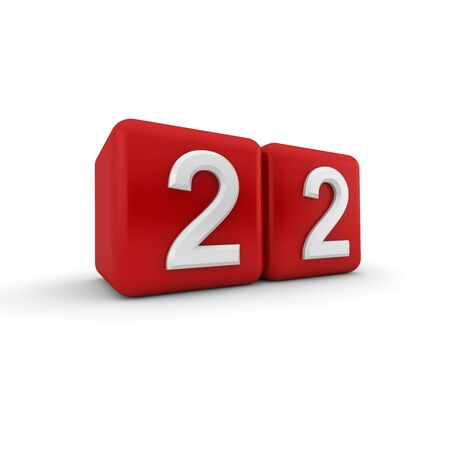 numeracy: A red 3D block with white number twenty two